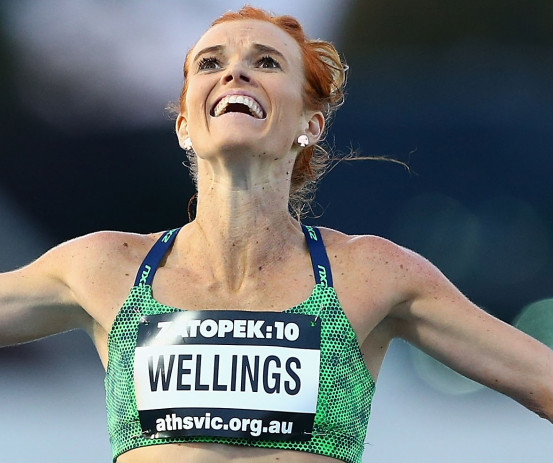 Eloise Wellings after finishing a 10,000m race.