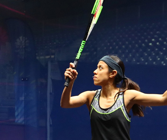 Malaysian squash star Nicol David plays a shot during a match.