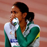 Cathy Freeman reacts after winning gold in the 400m final at the Sydney 2000 Olympics.