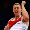 John Lane celebrates during the pole vault event at the Glasgow 2014 Commonwealth Games.