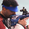 India's Gagan Narang competes in the 50m Mens Rifle event at the Delhi 2010 Commonwealth Games.