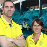 David Palmer and Rachael Grinham of The Australian Squash team receive their official uniforms.