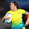 Charlotte Caslick starred for Australia to help them make the women's rugby sevens semifinals.