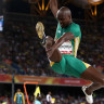 Luvo Manyonga flies in the men's long jump final.
