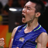 Lee Chong Wei celebrates.