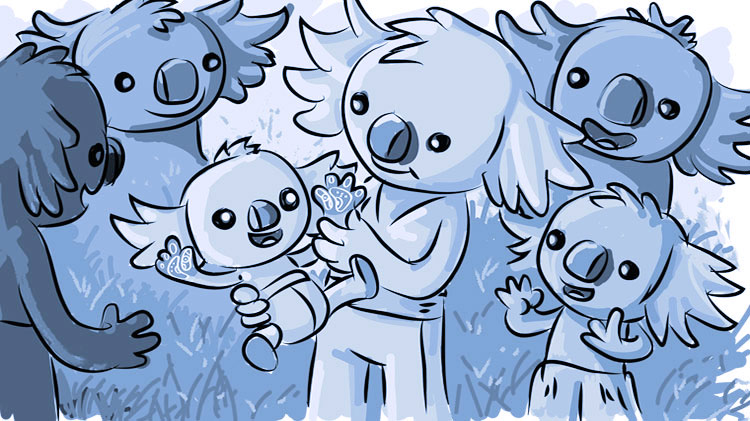 Newborn baby Borobi surrounded by family