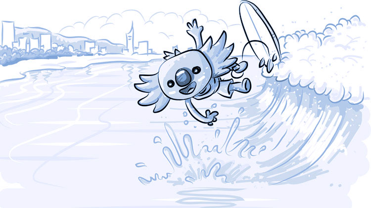Borobi on wave falling off his surfboard