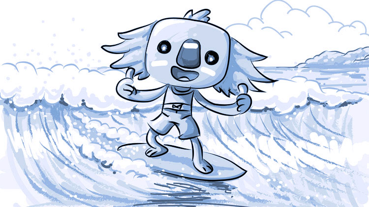 Borobi catches a wave for the first time. He's standing tall on his surfboard with two thumbs up