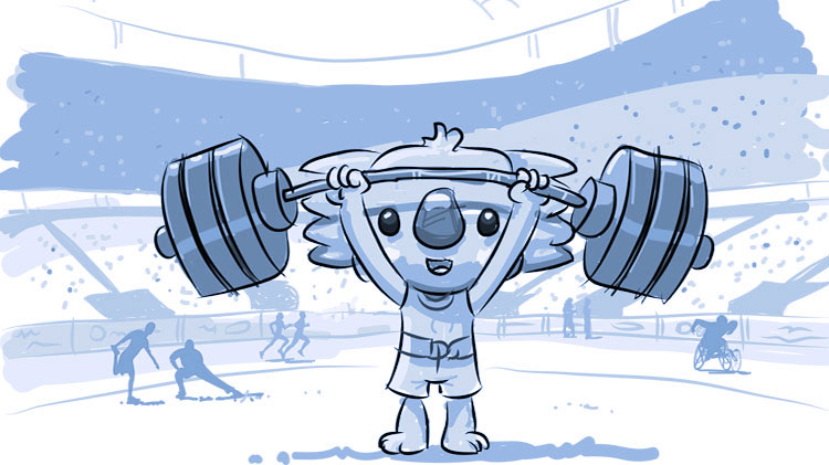 Borobi lifts weights as high as he can